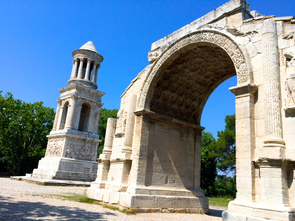 This triumphal arch stood outside the northern gate of Glanum and was a symbol of Roman power. It was built during the reign of Augustus Caesar in approximately 14 AD.
