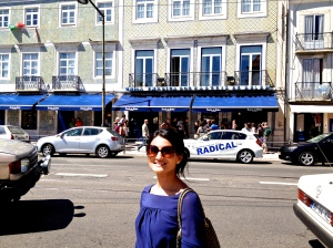 Look for the blue awning of the pastry shop
