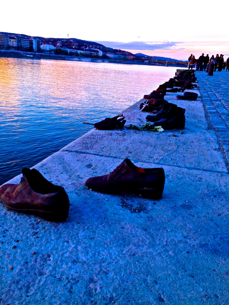The cast iron shoes in remembrance of the Holocaust victims shot along the Danube during World War II