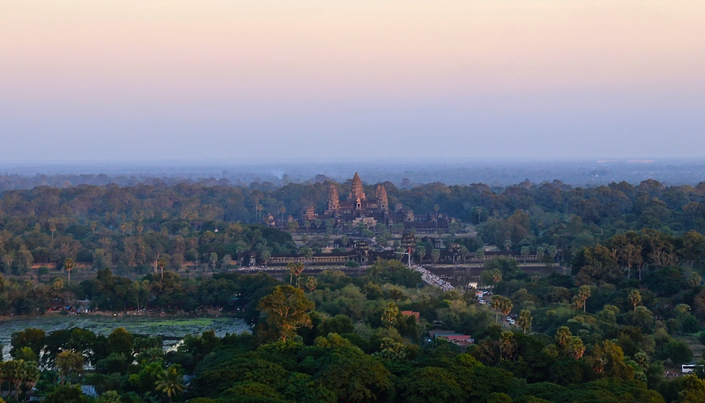 Aerial view of the massive Angkor Wat temple complex
