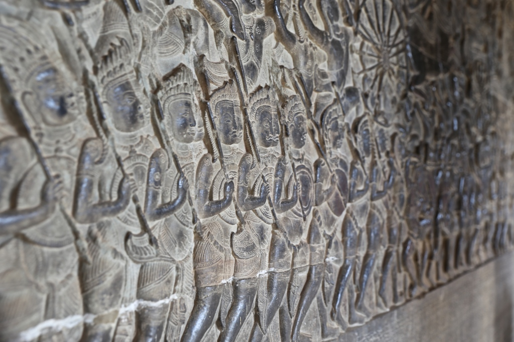 The detailed carvings inside Angkor Wat