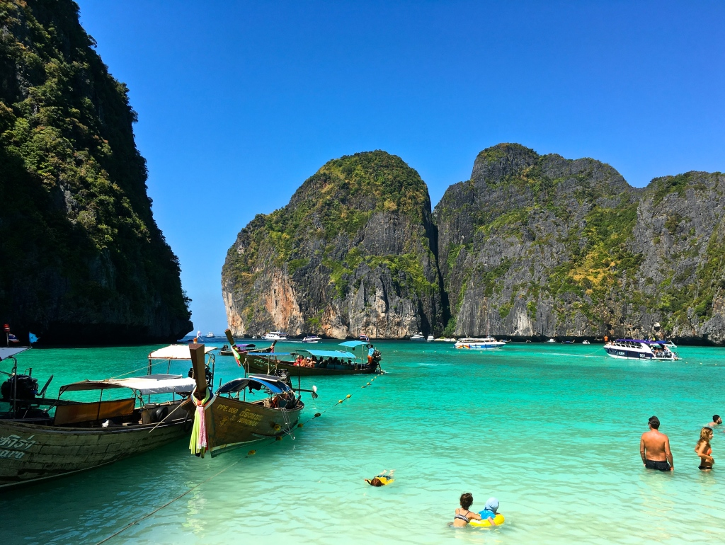 Busy but beautiful Maya Bay in the Phi Phi Islands