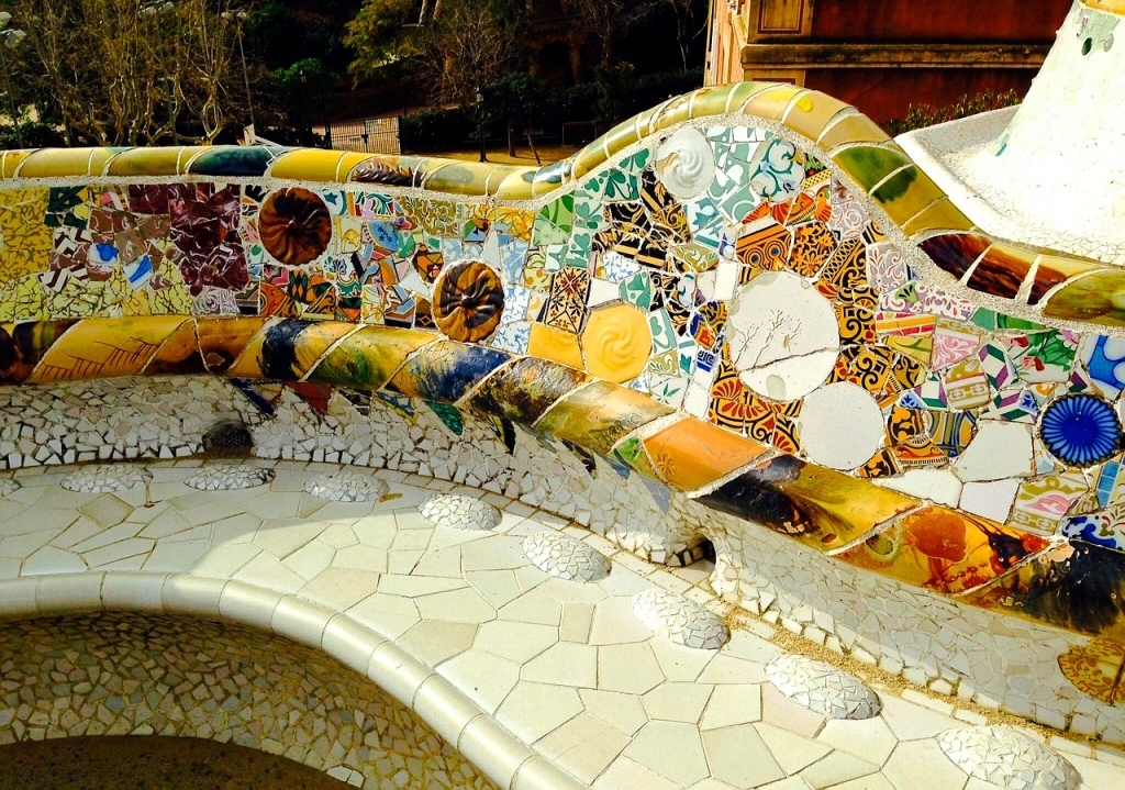 A detailed view of Gaudi's work at Park Guell