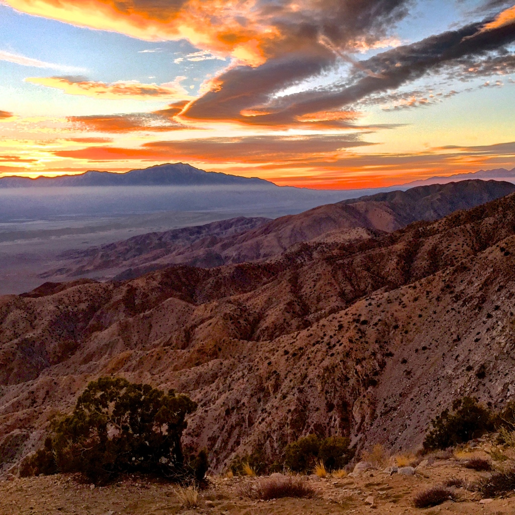 The sunset from Keys View in Joshua Tree National Park