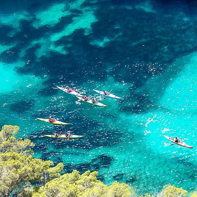 Kayaking in the water near Calanque d'en Vau